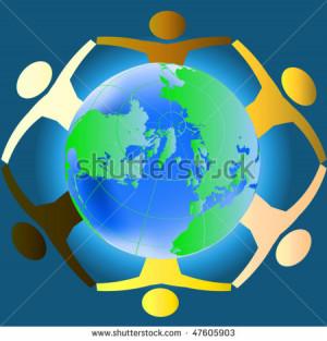 ... hands across the globe - concept for racial harmony, world peace etc