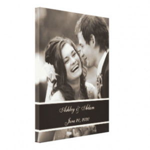 Sepia Wedding Photo Personalized Stretched Canvas Prints