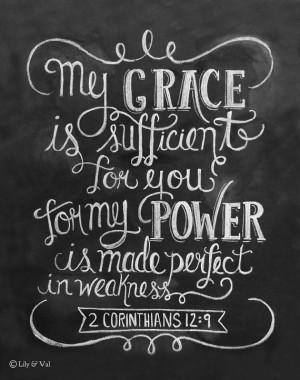 Scripture Art- 2 Corinthians 12:9 Print - Bible Verse Print ...