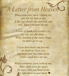 poems from heaven | Letter From Heaven | Death Poems & Quotes More