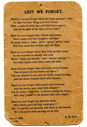 Poem 'Lest we forget' by A.N. Cole