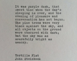 John Steinbeck Tortilla Flat Typewr iter Quote / Quote Typed on ...