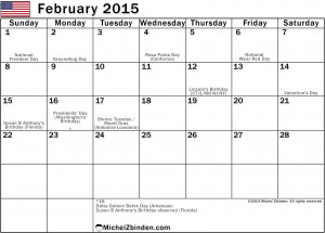 February 2015 Calendar - Holidays in the United States