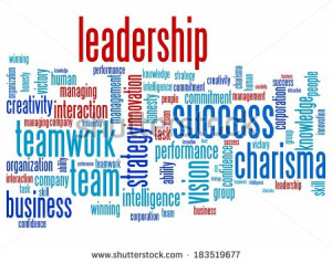Leadership and teamwork word cloud illustration. Word collage concept ...