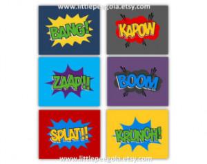 Super Hero Sayings Art for Kids set of six 8x10