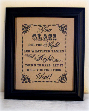 Your Glass For The Night 8 x 10 Wedding Glass Favor Sign - Mason Jar ...
