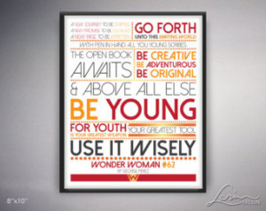 8x10 JPG - Wonder Woman #62 Go Forth Be Young Inspiration Quote George ...