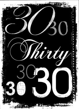 Grunge Numbers 30th Birthday Invitation