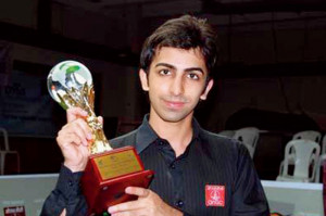 Pankaj Advani with his IBSF World 6 Red Snooker Championship trophy
