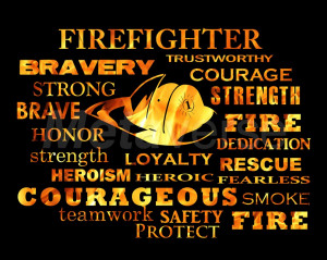 Firefighter Words art print