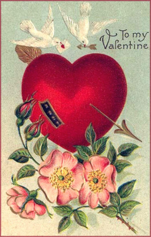 Vintage Valentine's Day cards: Two white doves, a big heart and rose ...