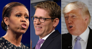 Michelle Obama, Jay Carney and Donald Trump are shown in a composite ...