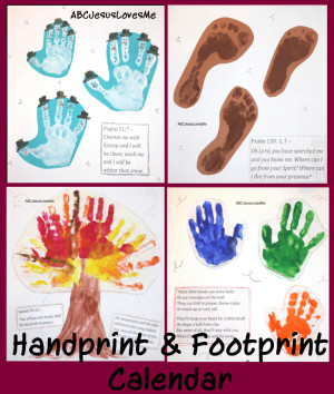 Create a Handprint and Footprint 12 Month Calendar . This is a simple ...
