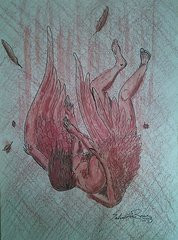 Fallen Angel Drawings Prints - the folly of Icarus Prints by Salvatore ...