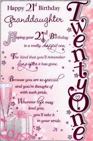 ... Cards › Birthdays › 21 › Happy 21st Birthday Granddaughter Card