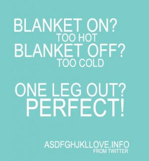 blanket on too hot blanket off too cold one leg out perfect