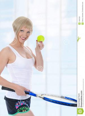 Beautiful Girl With Tennis