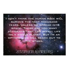 stephen+hawking+quotes | Stephen Hawking quote Space poster from ...
