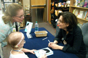 Michelle's Mom, Mary, with Michelle talking to RJ Palacio