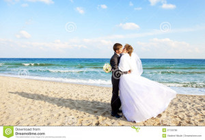 Newly Married Couple Kissing On The Beach. Congratulations Quotes ...