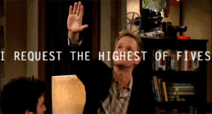 barney, funny, high five, how i met your mother, lmfao, lol, quote