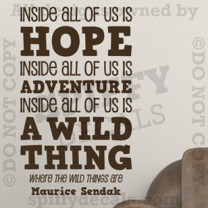 Where The Wild Things Are Hope Adventure Quote Vinyl Wall Decal Decor ...