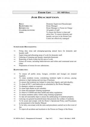 Housekeeping Job Description Resume