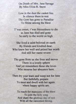Funeral Poem by Eliz R. Snow