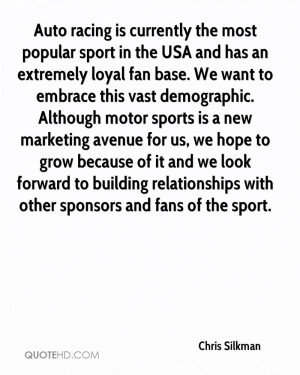 this vast demographic. Although motor sports is a new marketing ...
