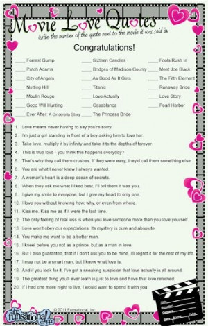 ... Games Ideas, Quotes Games, Movie Quotes, Bridal Shower Games, Love