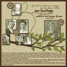 family tree scrapbook, heritage scrapbook pages, genealog scrapbook ...