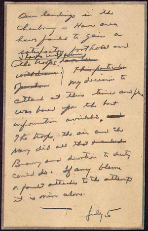 ... Letter General Eisenhower Drafted In Case The Nazis Won On D-Day