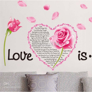 Love Roses Pink Flowers Wall Stickers Wedding Room Decals Decor Quotes