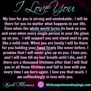 My Love Is Strong And Unshakable.