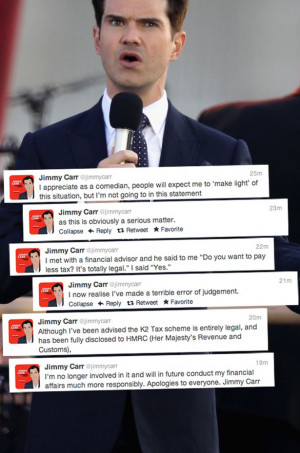 Jimmy Carr's K2 Tax Scheme comments on Twitter
