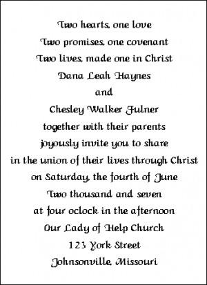 Wedding Invitation Wording Sample 4