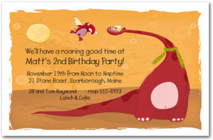 ... & Kids Birthday Invitations First Birthday Invitations Red Dinosaur