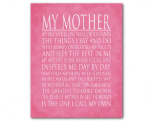 Mother - Mother's Day Gift - Word Art print - My mother is... tribute ...
