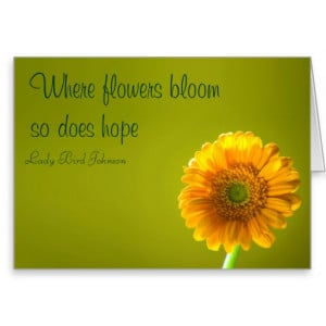 Card with Quote - Yellow Daisy Gerbera Flower