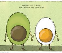 avocado, cartoon, egg, funny, love, text