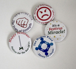 Seinfeld Festivus Set Pinback Button Badge Magnet Funny Quote Slogan ...