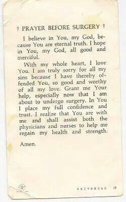 Prayer before surgerySurgery Prayer