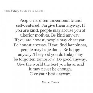 Thank you, Mother Teresa.
