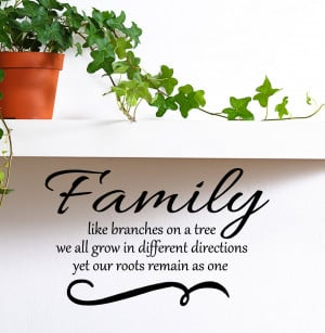 Family like branches on a tree we all grow in different directions yet ...
