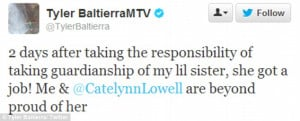 Proud guardian: Tyler tweeted good news about his sister after ...