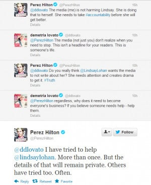 Demi Lovato defends Lindsay Lohan recent arrest Max The Wanted Perez ...