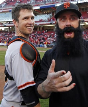 Francisco Giants' Buster Posey celebrates with pitcher Brian Wilson ...