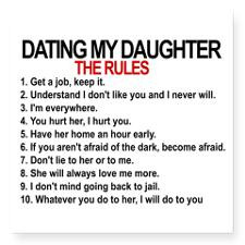 Dating My Daughter - The Rules Square Sticker 3
