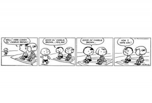 The first Peanuts comic strip is seen in a handout image. REUTERS ...