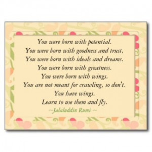 Send this Rumi Quote Inspirational Motivational Postcard to motivate ...